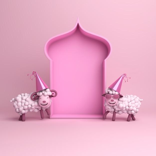 Eid al adha mubarak background with sheep Premium Photo