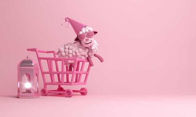 Eid al adha sale background with sheep trolley cart lantern Premium Photo