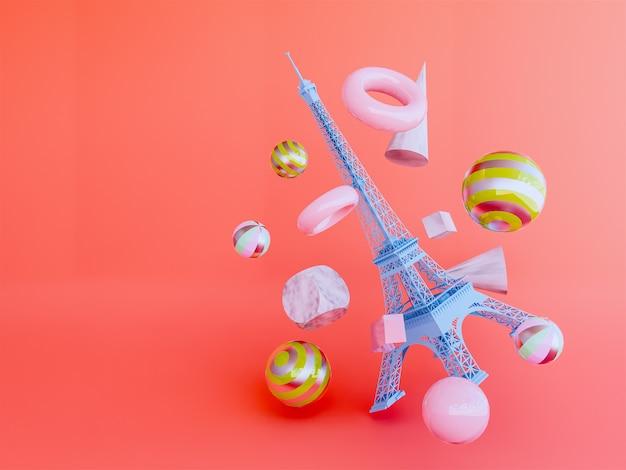 Eiffel 3d render. Premium Photo
