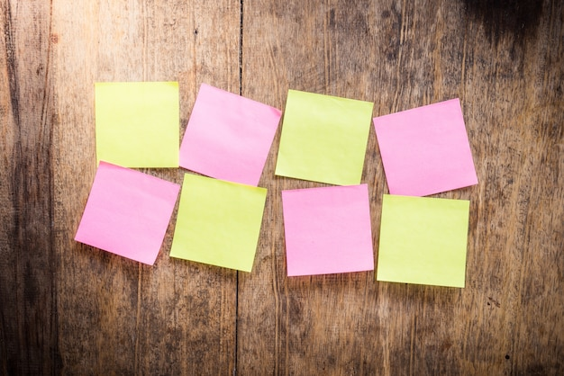 Eight blank colorful sticky notes Premium Photo