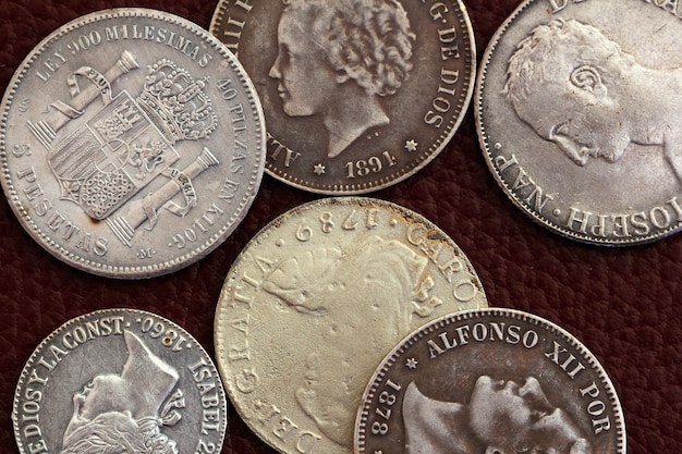 Eighteenth and nineteenth century spain old coins Premium Photo