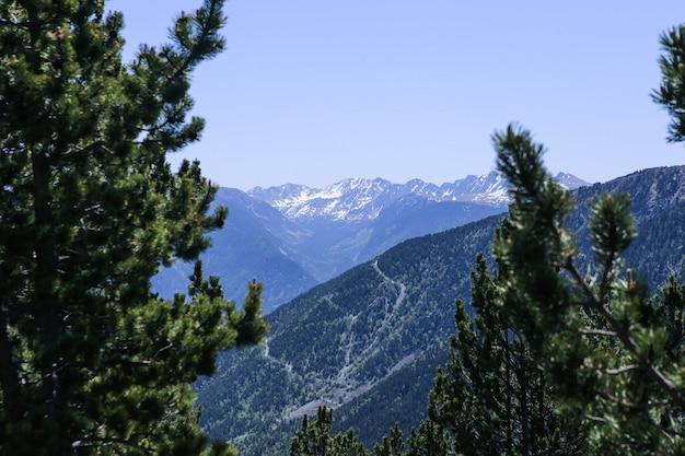 Изображение снежного ландшафта горы пиренеи в лыжном курорте el tarter, андорры. Premium Фотографии