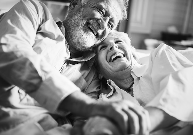 An elderly couple is spending time together Premium Photo