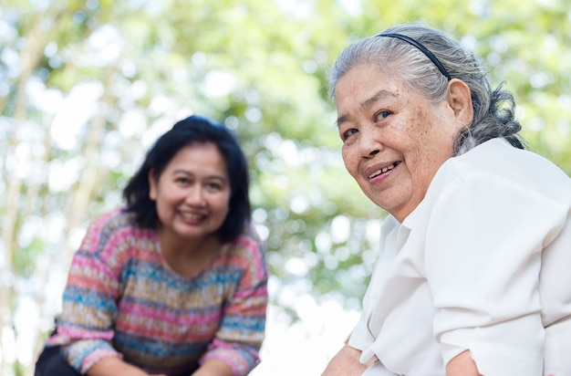 Elderly female with happiness Free Photo