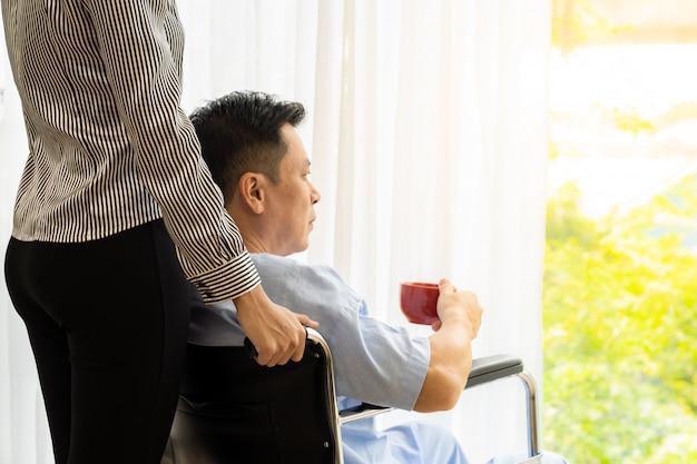 Elderly patient on wheelchair Premium Photo