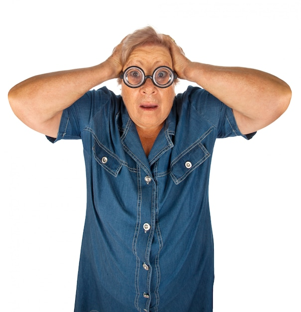 Elderly woman with surprised expression Premium Photo