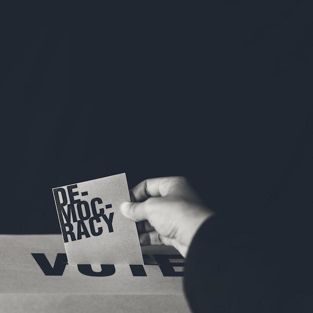 Election card insert in vote box, democracy concept, black and white tone Premium Photo