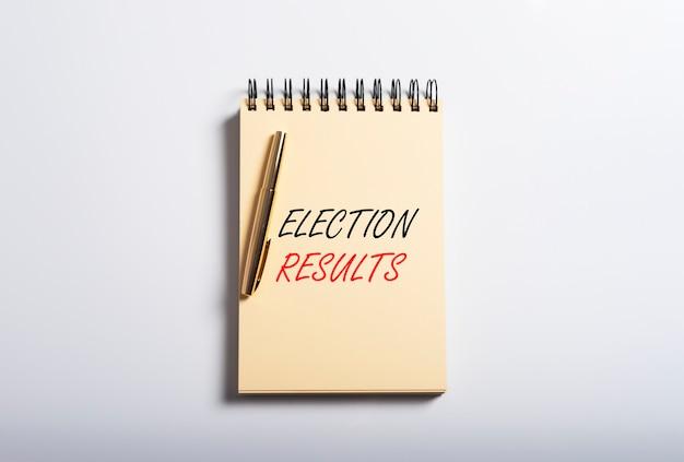 Election results inscription. polls recap. voting overview. Premium Photo