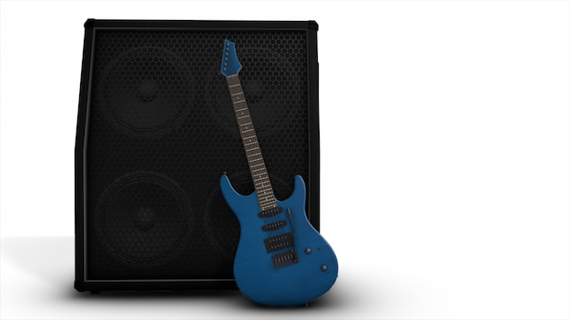 Electric blue guitar with a big combo Premium Photo