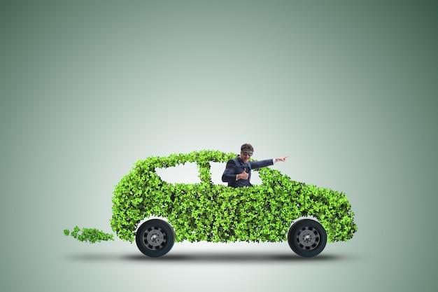 Electric car in green environment Premium Photo