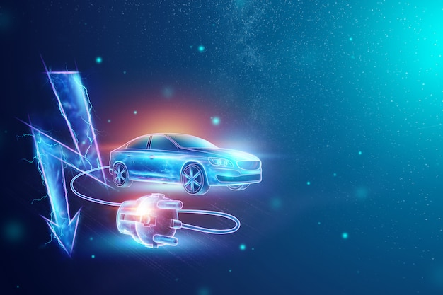 Electric car with charging wire, hologram, electricity sign. Premium Photo