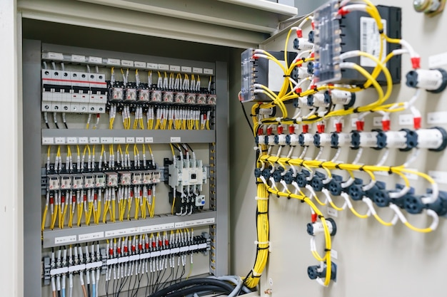 Electric control panel enclosure for power and distribution electricity. Premium Photo