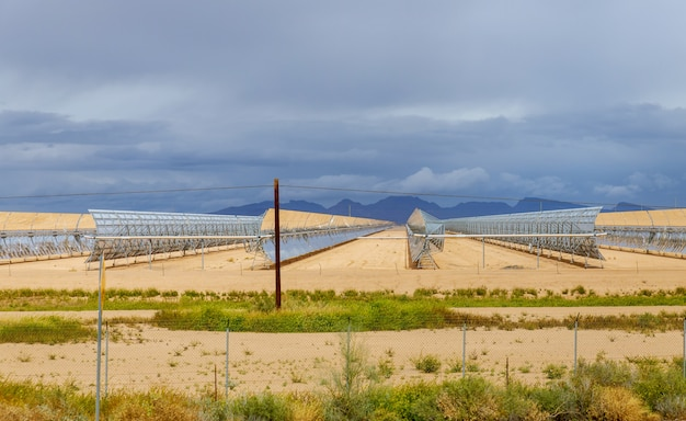 Electric station of solar water heating system on arizona Premium Photo