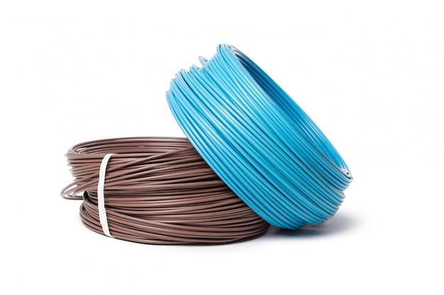 Electrical cable, energy and technology equipment isolated on white Premium Photo
