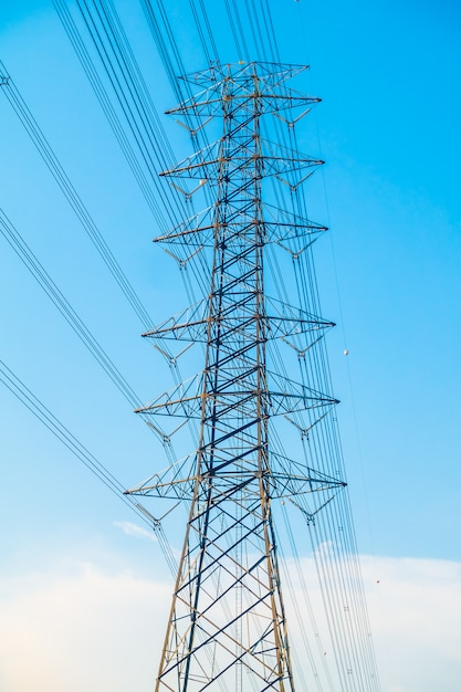 Electricity post with high voltage Free Photo