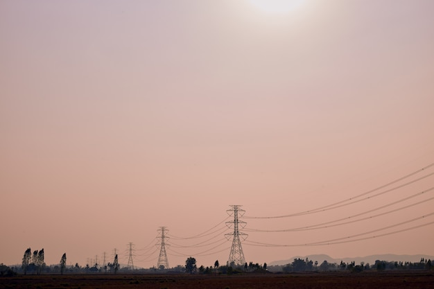 Electricity post with transmission power Premium Photo