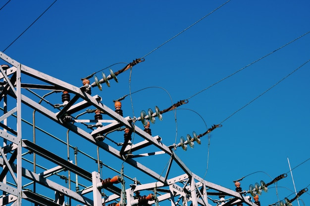 Electricity tower and blue sky, electrical power line Premium Photo
