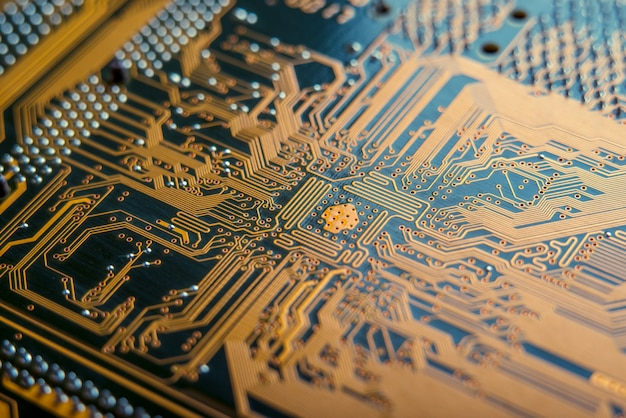 Electronic board with semiconductor elements closeup Premium Photo