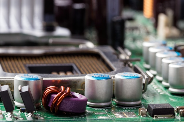 Electronic components on the motherboard Premium Photo