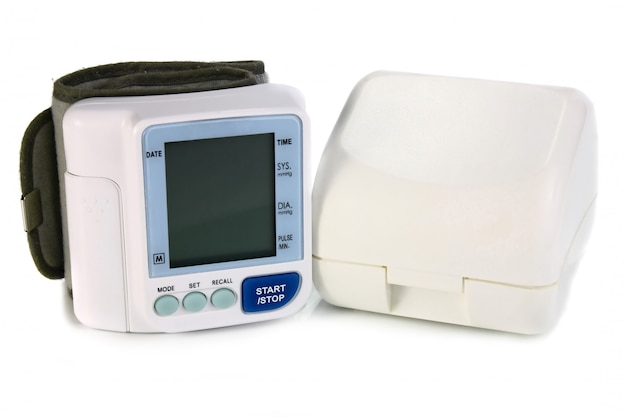 An electronic device reading blood pressure Premium Photo