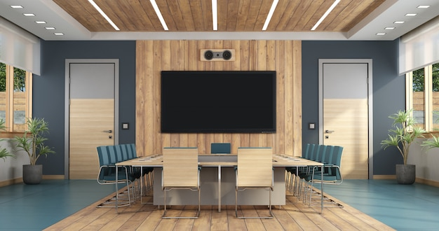 Elegant boardroom with large meeting table Premium Photo