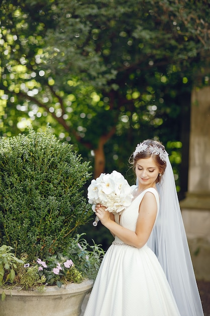 Elegant bride in a park Free Photo