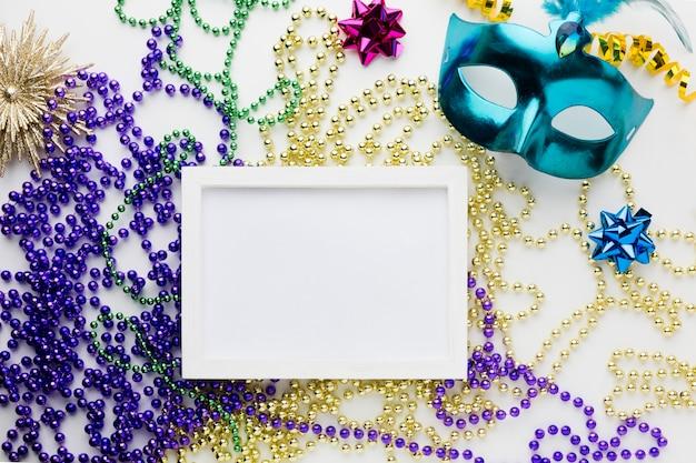 Elegant carnival mask with frame Free Photo