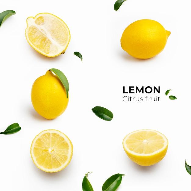 흰색 표면에 레몬 세트의 우아한 구성 무료 사진