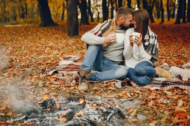 Elegant couple spend time in a autumn park Free Photo