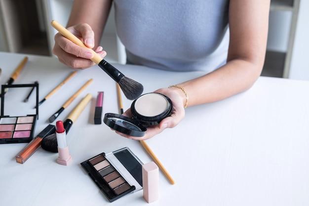 Elegant Female Beauty Blogger Showing