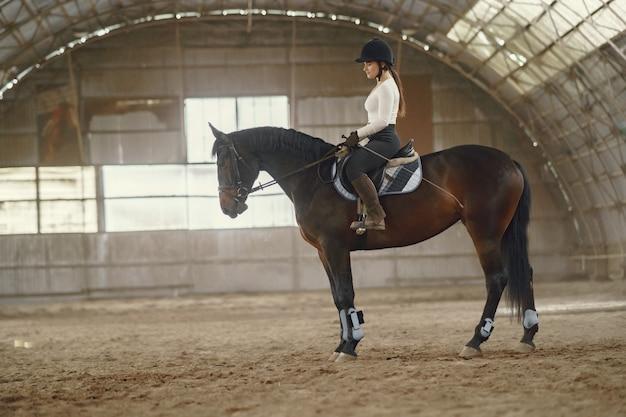 馬と農場でエレガントな女の子 無料写真
