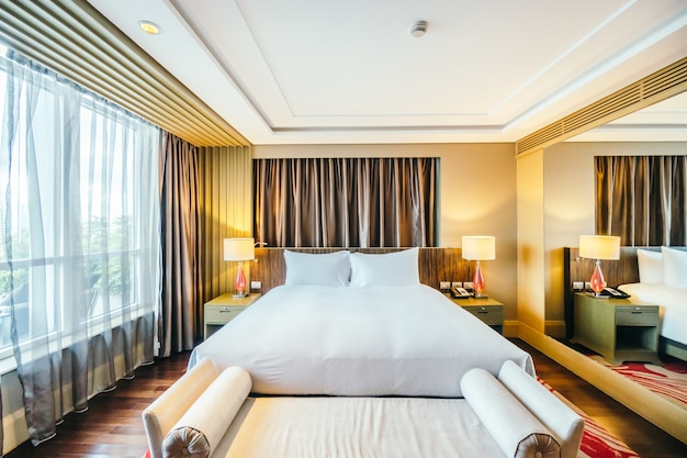 Elegant hotel room with a big bed Free Photo