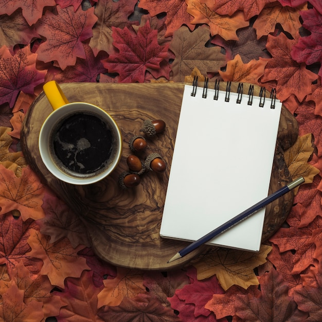 dd3277eacd4 Elegant notepad and coffee autumn set Photo | Free Download