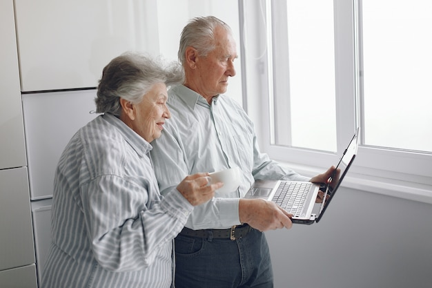 Elegant old couple at home using a laptop Free Photo