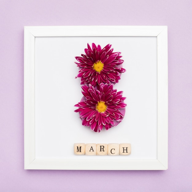 Elegant picture frame with flowers Free Photo