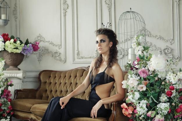 Elegant queen in black dress Premium Photo