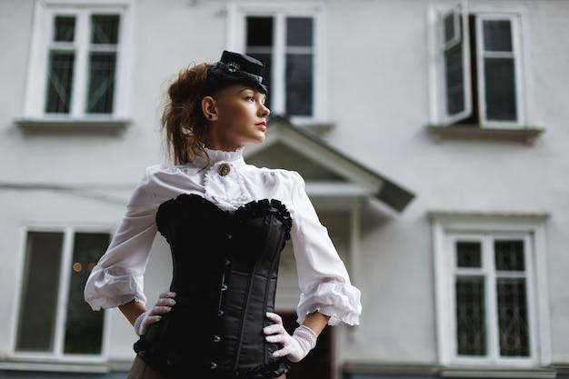 Elegant woman dressed in retro victorian style Premium Photo