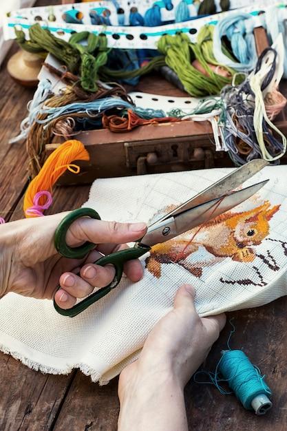 Elements of needlework Premium Photo