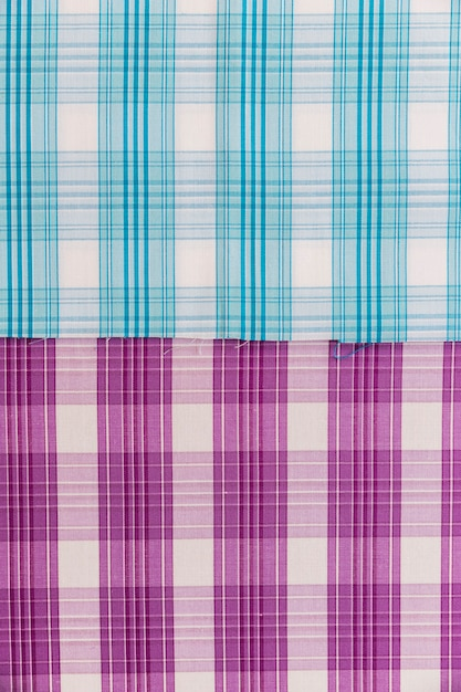 Elevated view of blue and purple pattern fabric Free Photo