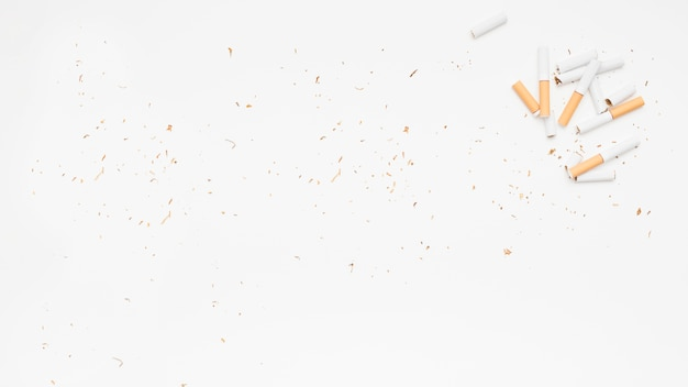 Elevated view of broken cigarette and tobacco over white surface Free Photo