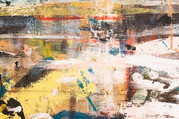 Elevated view of messy colorful abstract brushstroke textured Free Photo