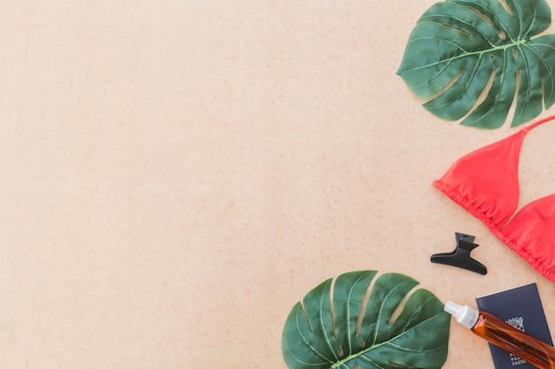 Elevated view of monstera leaf, bikini, hairclip and perfume Free Photo