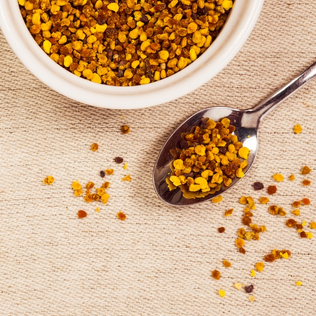 Elevated view of organic bee pollen Free Photo