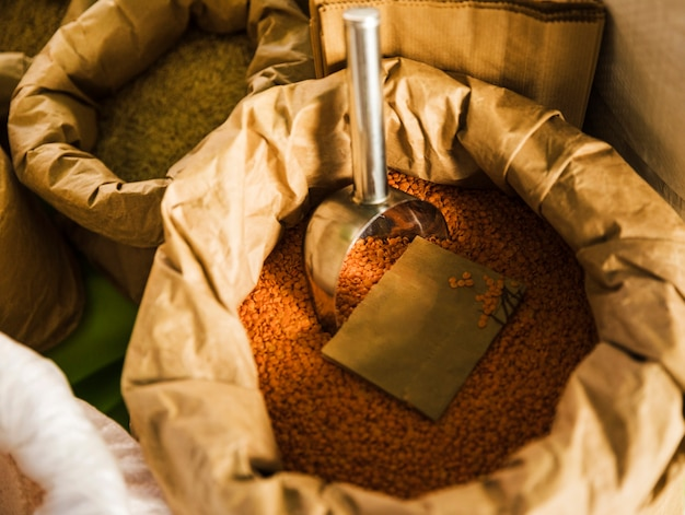 Elevated view of red lentils with scoop in brown paper bag Free Photo
