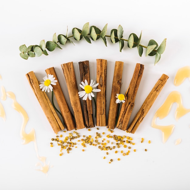 Elevated view of spices; flowers; honey and bee pollen on white surface Free Photo