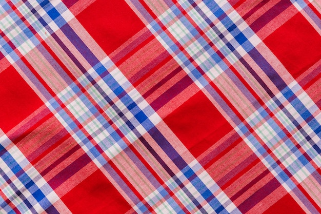 Elevated view of tartan textile pattern Free Photo