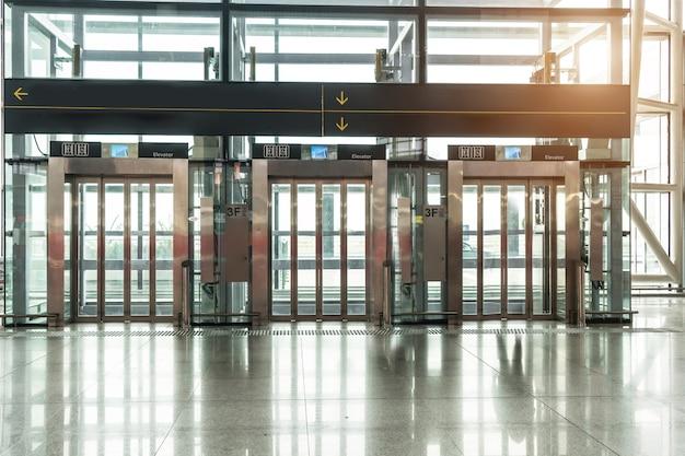 Elevator in airport terminal Premium Photo