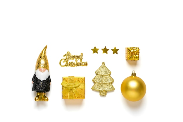Elf, bauble, tree, gift box decorated gold sparkle in black, golden color isolated on white background. happy new year, merry christmas concept Premium Photo