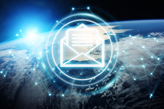 Emails exchanges on planet earth 3d rendering Premium Photo
