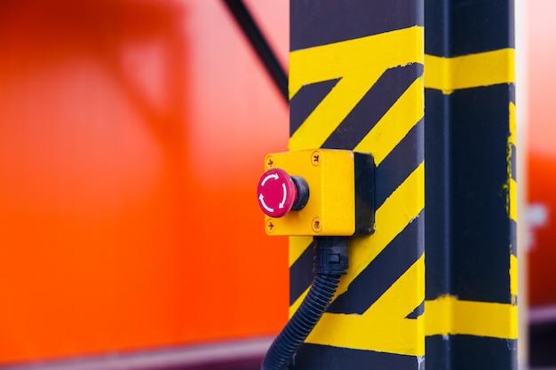 Emergency button on the conveyor Premium Photo